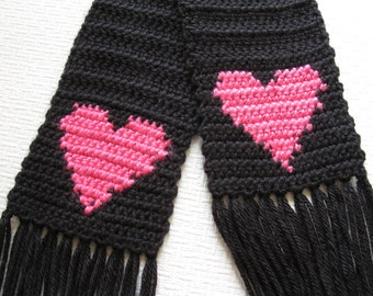 Crochet Heart Scarf. Long black scarf with bright pink hearts for women