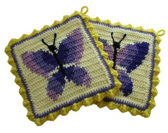 Purple Butterfly Pot Holders.  Thick crochet potholders with butterflies.