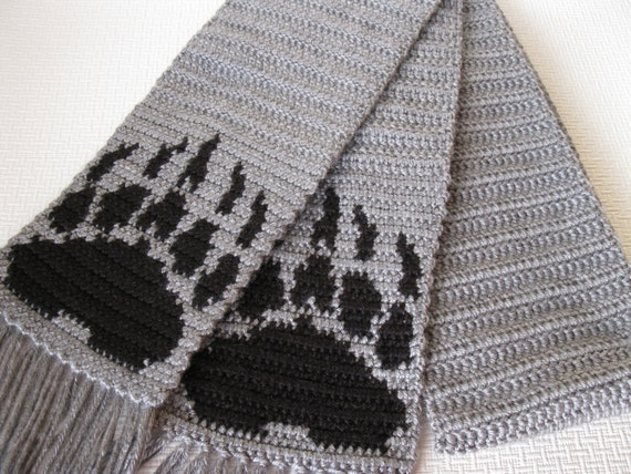 Bear Paw Print Scarf. Crochet scarf with bear claws for men or women. Long unisex scarf