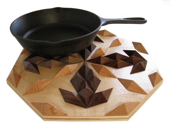 Wood Hot Pad.  Octagon, raised wooden trivet.