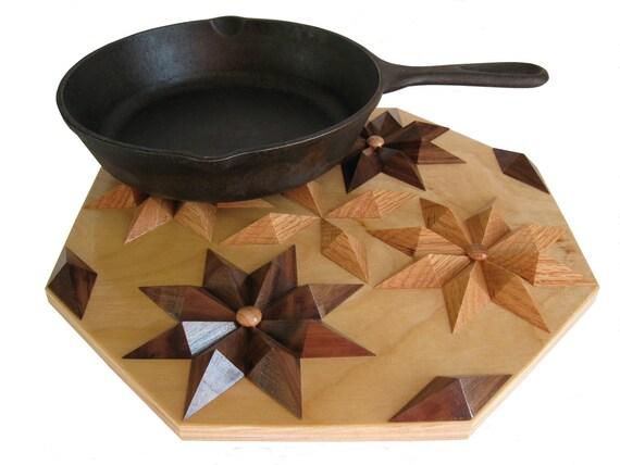 Wooden Trivet or Table Centerpiece.  3 D wood flower hot pad.