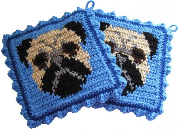 Pug Dog Pot Holders.  Blue potholders with black and tan pugs.