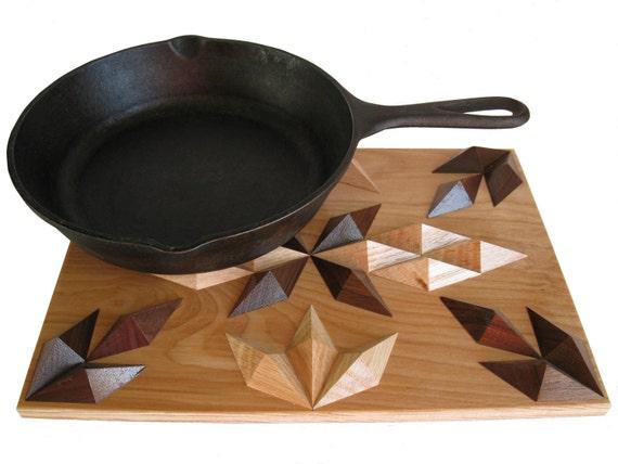 Decorative Wood Trivet or Hot Pad.  3 dimensional hardwood hotpad.