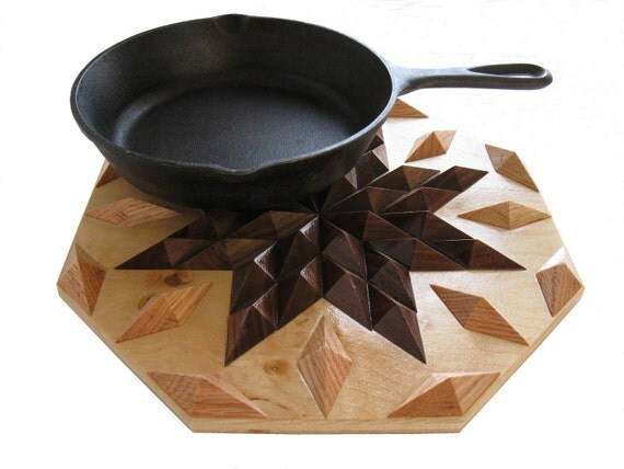 Kitchen Hot Pad.  Walnut wood, star design wooden trivet or centerpiece.
