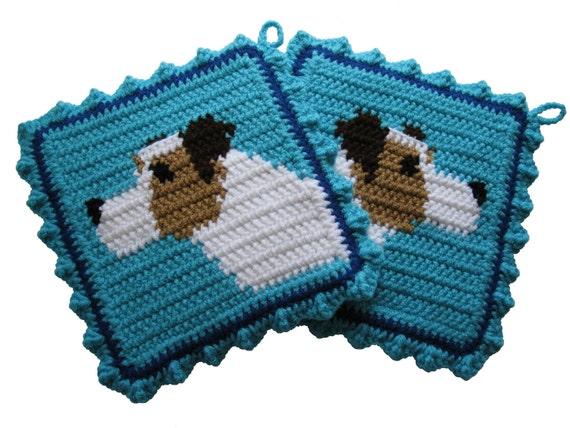 Jack Russell Terrier Pot Holders.  Turquoise crochet dog potholders.  Parson terrier dog decor.