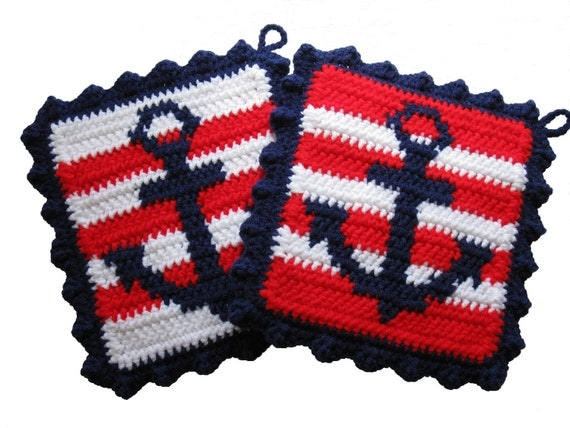 Crocheting Pot Holders : Crochet Anchor Pot Holders. Nautical stripes, anchor kitchen decor,
