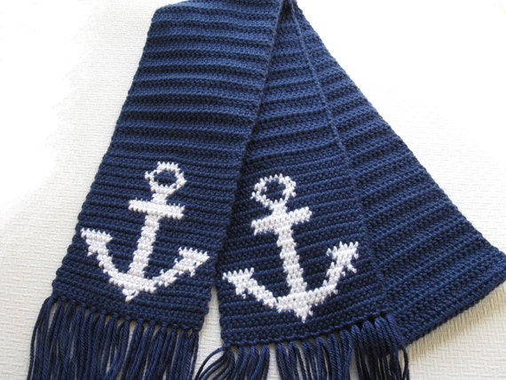 Anchor Scarf for Men.  Navy blue crochet scarf with anchors.