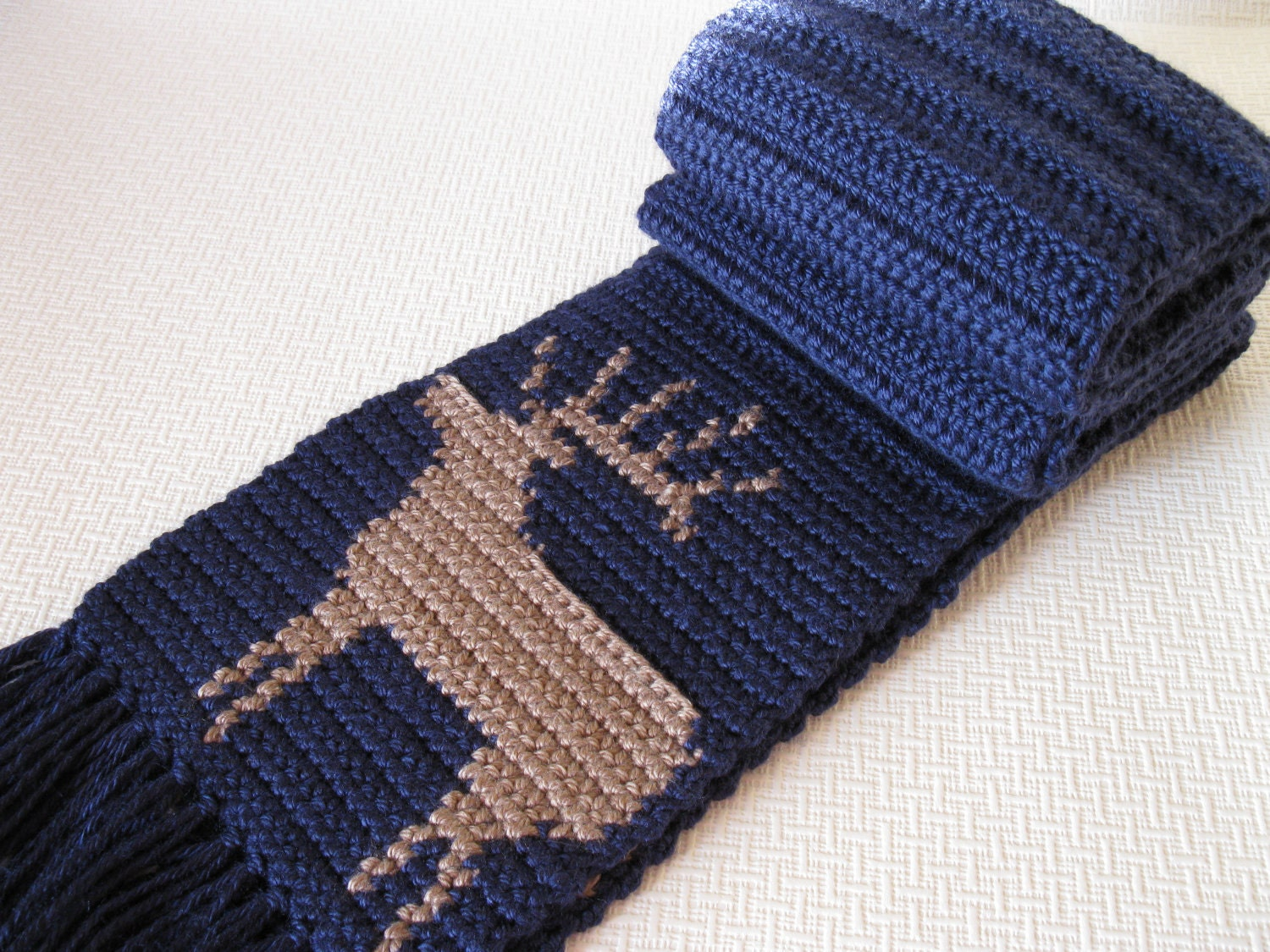 Crochet Mens Scarf : Mens Scarf. Navy blue crochet scarf with a bull elk by hooknsaw