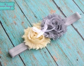 Yellow and Gray Shabby Chiffon Headband- Newborn/Infant/Toddler/Adult