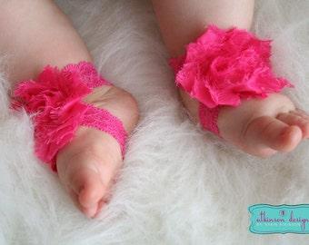 Hot Pink Baby Barefoot Lace/Chiffon Flower Sandals