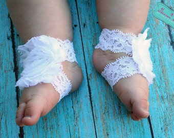 White Baby Barefoot Sandals- White Lace/White Chiffon Flower
