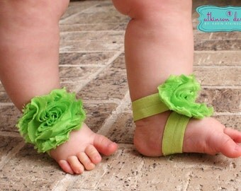 Lime Green Baby Barefoot Sandals