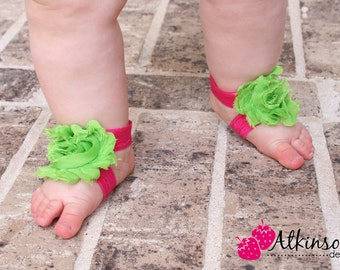 Lime Green and Hot Pink Baby Barefoot Sandal