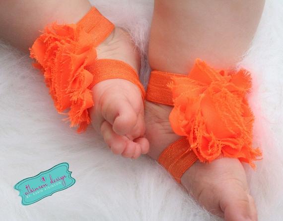 Orange Barefoot Baby Sandals -Orange Elastic