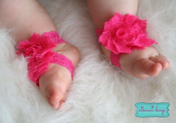 Hot Pink Baby Barefoot Lace/Chiffon Flower Sandals