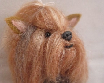 Needle Felted Yorkshire Terrier Dog Brooch