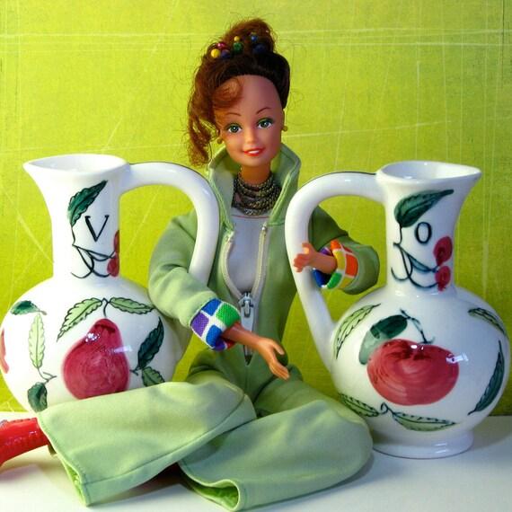 Hand painted Ceramic Vinegar & Oil bottles
