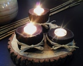 SET OF 3 -   Espresso Stained Tree Trunk Candleholders
