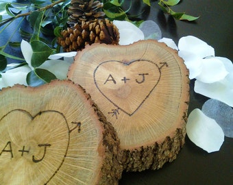TREASURY ITEM  - Valentines day gift  - Personalized gift - Tree slices - Heart - Wood tree slice - Anniversary - Weddings