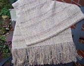 Hand Woven Cream and Copper LIght Rayon Cotton Shawl or Scarf