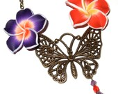 Butterfly Necklace, Polymer Clay, Red and Purple, Ornate Butterfly, Large Pendant, Floral Accessories, Bronze Butterfly, Flower Jewelry