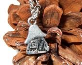 Fairy Door Necklace, Toadstool House, Woodland Jewelry, Fairy Door, Hobbit House, Simple Necklace, Everyday Jewelry, Fairy Door Charm,