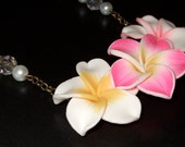 Flower Necklace, Pink and White, Polymer Clay Flowers, Large Flower Pendant, Unusual Bride, Tiki Flower Jewelry, Hibiscus Necklace, Hot Pink