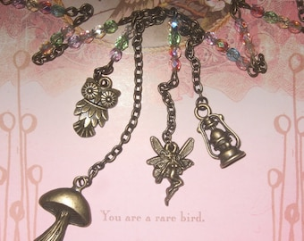 Woodland Necklace, Multi Charm Woodland Themed Jewelry, Fairy Necklace, Pastel Bead Necklace, Quirky Jewelry, Charm Necklace, Owl Necklace