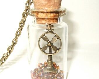 Fan Necklace, Bottle Necklace, Number One Fan, Fan Art, Fan in a Bottle Jewelry, Bronze Fan Charm, Quirky Jewelry, Unusual Charm Necklace