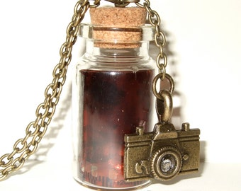 Bottle Necklace, Camera Film, Negative Pendant, Vintage Negative, Camera Necklace, Photography Jewelry, For Photographer, Bottle Pendant