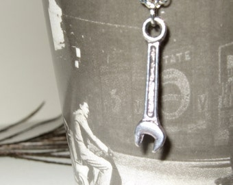Wrench Necklace, Monkey Wrench, Spanner Pendant, Tool Necklace, Silver Wrench Charm, Mechanic Jewelry, Simple Necklace, Monkey Wrench Charm