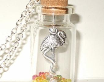 Flamingo Necklace, Bird Jewelry, Bird in a Bottle, Flamingo Jewelry, Kitsch Jewelry, Bird Bottle Pendant, Flamingo Charm, Tropical Bird