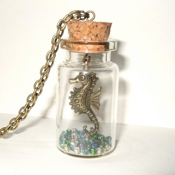 seahorse necklace seahorse in a bottle pendant seahorse