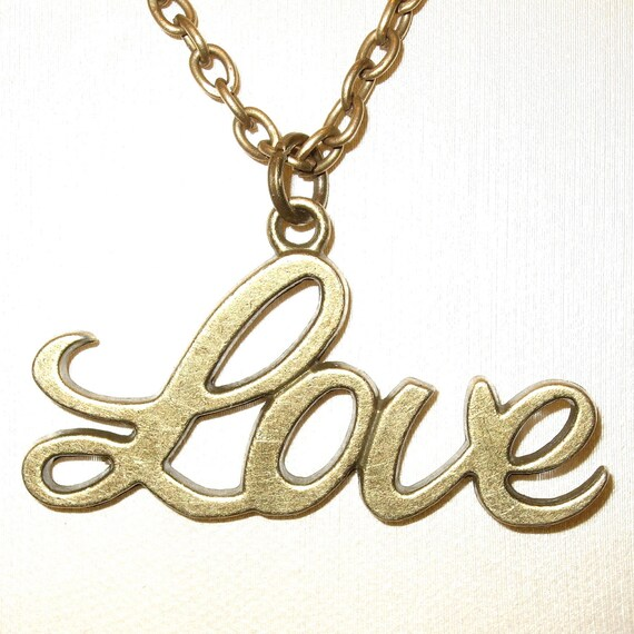 Love Necklace, Word Jewelry, Love Charm Pendant, Love Token Necklace, Bronze Love Pendant, Charm Jewelry, Simple Necklace, Everyday Jewelry