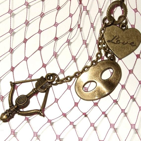 Love Necklace, Multi Charm, Cupid's Arrow, Mask Necklace, Bow and Arrow Charm, Love Heart Necklace, Charm Drop Necklace, Love Token Jewelry