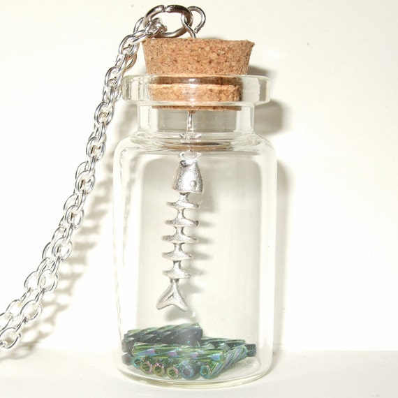 Fishbone Necklace, Silver Fish Bone, Bottle Necklace, Cartoon Fishbone, Fishbone Charm, Fishing Necklace, Bottle Pendant, Fish in a Bottle