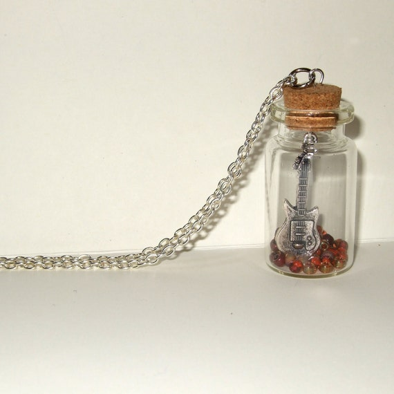 Guitar Necklace, Bottle Pendant, Guitarist Necklace, Silver Guitar Charm, Guitar in a Bottle, Musician Jewelry, Quirky Necklace, Guitar Gift