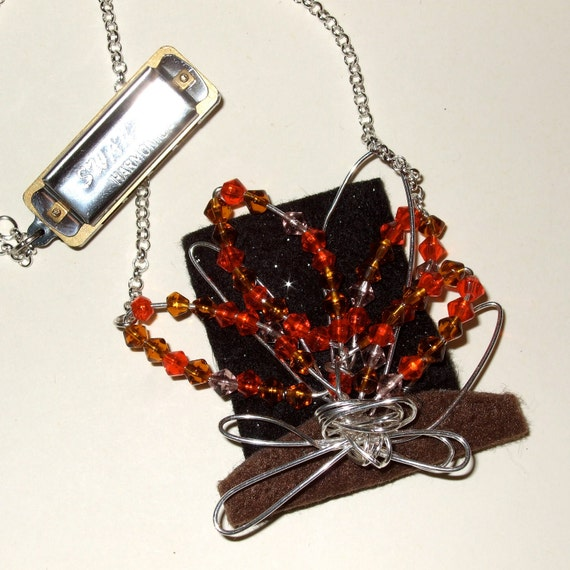 Campfire Necklace, Harmonica Necklace, Beaded Flames, Festival Jewelry, Quirky Necklace, Handmade Fire, Multi Layer Necklace, Festival Style