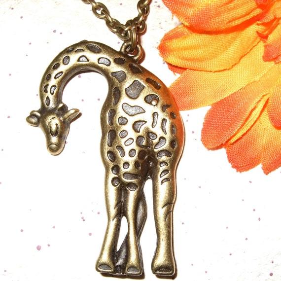 Giraffe Charm Bracelet: Giraffe Necklace, Bronze Giraffe Charm, Large Pendant