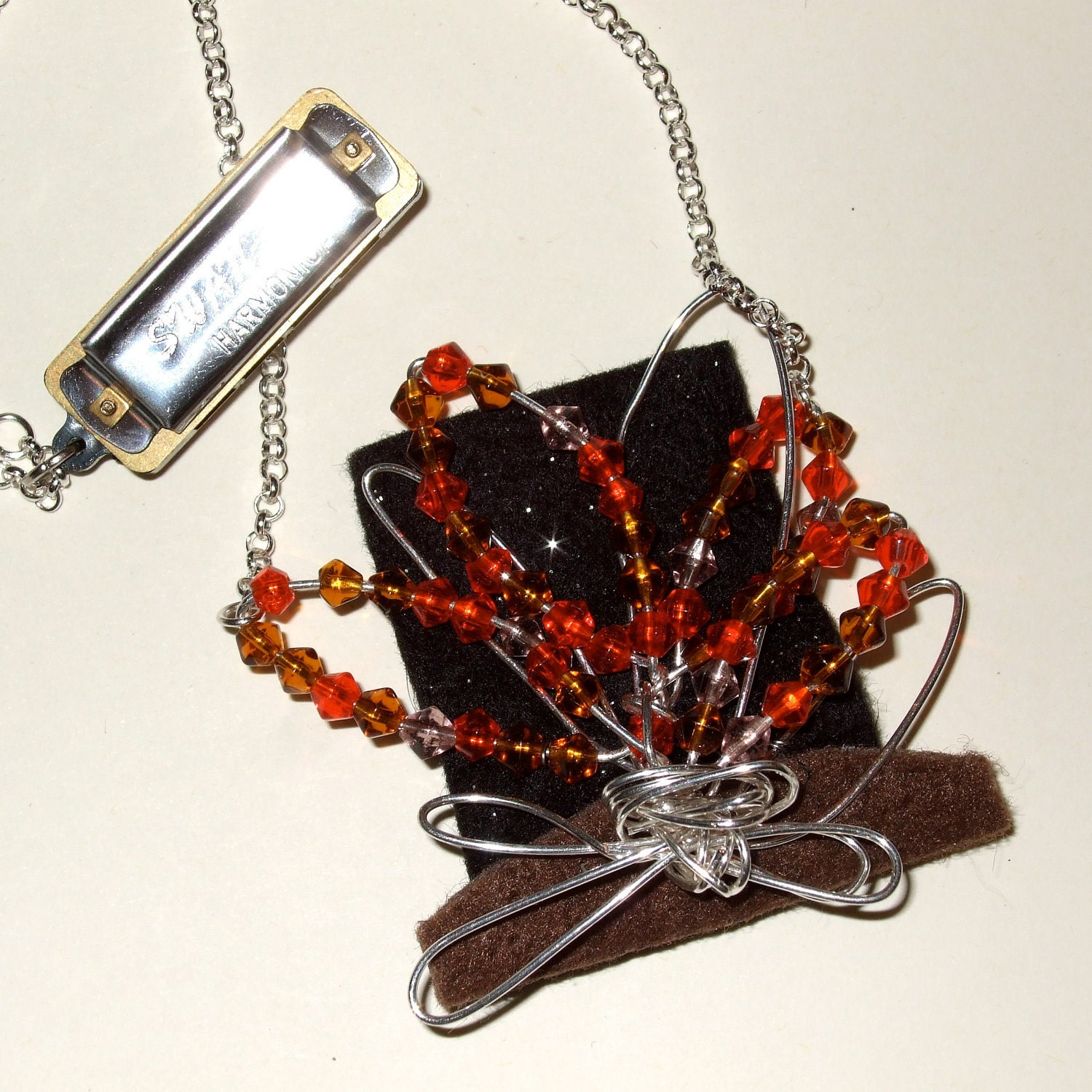 Harmonica Necklace: Campfire Necklace Harmonica Necklace Beaded Flames Festival