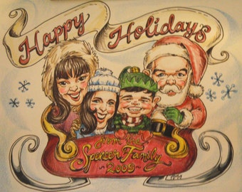 Caricature Family Holiday Card Design (Does not include printing)