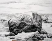 Orginal charcoal drawing , A4, Stones on the Baltic sea, black white.