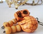 Skull Earrings, Camel Bone, Halloween Earrings