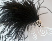 Black Ostrich Feather Hair Clip, Burlesque, Showgirl