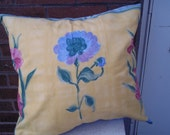 Pillow Cover Bright Yellow Flowered Upcycled 18 X 18