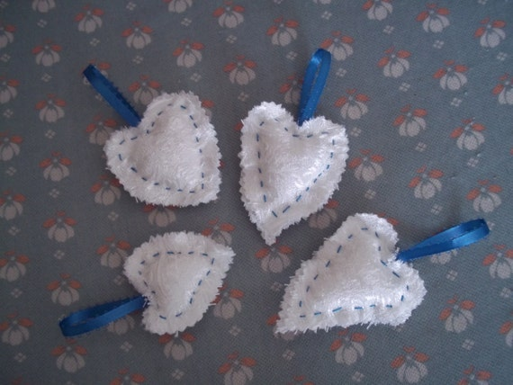 Gift Tie Ons, Shabby Small Puffy Scrap Hearts, Ornaments, Blue and White