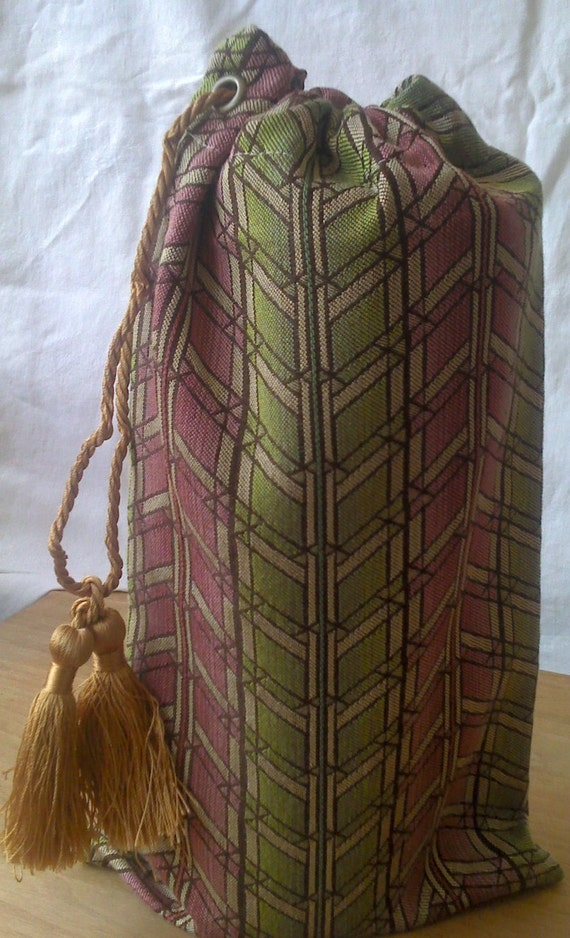 Knitting Project Bag, Zig Zag, Green and Pink, Crochet