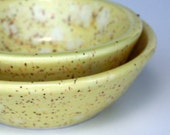 Nesting Nut Bowls. Lemon yellow pottery dishes.  Candy dishes.