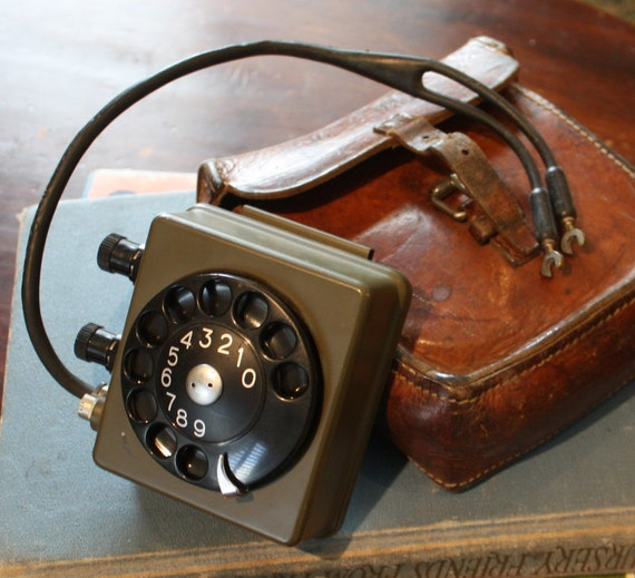 Vintage Rotary Field Phone with Leather Case.  Portable Swedish Military Telephone Collectible.