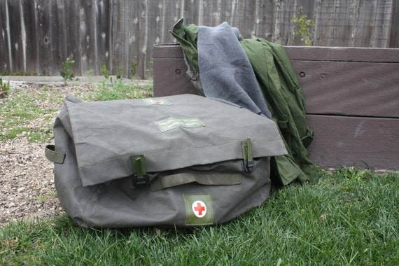 Duffle bag - TRUNK style. Vintage Red Cross Large tote for Sports Gear, Camping, College.
